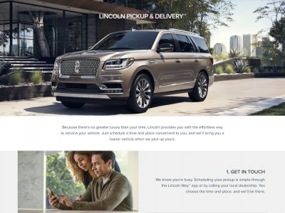 Strona Lincoln Pickup and Delivery website screenshot